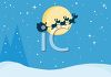 Santa and His Reindeer Flying Across the Night Sky clipart