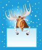 Moose with Candles on His Antlers Holding a Blank Sign clipart