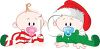 Babies Dressed for Christmas clipart