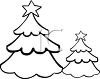 Coloring Page of Christmas Trees in the Woods clipart