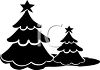Silhouetted Christmas Trees in the Woods clipart