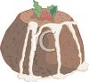Christmas Pudding with Icing Dripping Down the Sides clipart