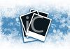 Instant Photos on a Snowflake Background clipart