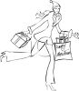 Coloring Page of Young Woman Christmas Shopping clipart