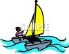Person Sailing a Catamaran clipart