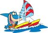 Cartoon Shark Sailing a Catamaran clipart