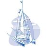 Realistic Catamaran Sailboat clipart