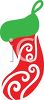 Stencil Style Christmas Stocking clipart