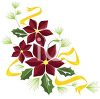 Poinsettia and Holly Leaf Christmas Design clipart