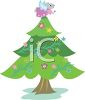 Cute Christmas Tree Decorated with Flowers and a Mouse on Top clipart