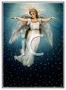 Beautiful Guardian Angel Hovering in the Night Sky clipart