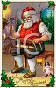 Old Fashioned Santa Claus Making Toys in His Workshop clipart