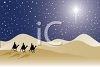 Silhouette of the Three Wise Men on Camels Following the North Star clipart
