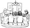 Family Praying Over Thanksgiving Dinner clipart