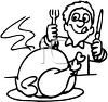 Man Carving the Thanksgiving Turkey clipart