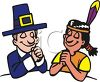 Pilgrim and Native American Indian Praying on Thanksgiving clipart