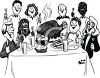 People at Thanksgiving Dinner Feast clipart