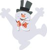 Funny Snowman Dancing Wearing a Top Hat clipart