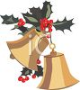 Gold Christmas Bells with Holly Decoration clipart