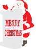 Santa Claus Holding a Merry Christmas Sign clipart
