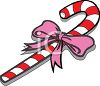Cartoon Christmas Candy Cane with a Bow clipart