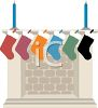 Colorful Christmas Stockings Hung on a Mantle clipart