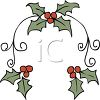 Christmas Design of Holly and Berries clipart