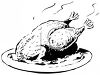 Black and White Vintage Roasted Turkey clipart