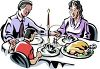 Family sitting Down to a Turkey Dinner clipart