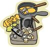 Cheese Fondue in a Melting Pot with Bread clipart