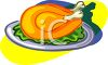 Christmas Turkey on a Plate clipart