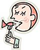 Cartoon of a Man Putting a Sardine In His Mouth clipart