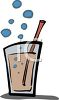 Glass of Fizzy Soda Pop with a Straw clipart