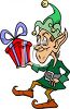 Santa's Elf with a Christmas Gift clipart