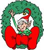 Christmas Elf in a Wreath clipart