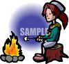 Girl Scout Sitting on a Stump Roasting Marshmallows clipart