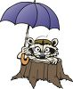 Raccoon Holding an Umbrella  clipart