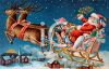 Vintage Santa in His Sleigh Flying Over a Sleepy Town clipart