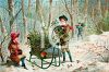 Vintage Scene of Children Gathering Mistletoe and Holly for Christmas clipart
