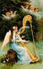 An Angel Playing the Harp in the Forest with Cherubs  clipart
