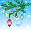 Festive Christmas Ornaments Hanging from a Branch clipart