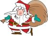 Cartoon of Santa Carrying a Huge Bag of Toys clipart