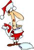 Man Putting on a Santa Suit for Christmas clipart