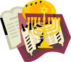 Hanukkah Design with a Torah and a Menorah clipart