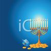 Chanukkah Background in Blue with a Golden Menorah, Coins and a Dreidel clipart