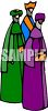 Stylized Three Wise Men Going to See Jesus clipart