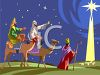 The Three Wise Men Following the North Star to Bethlehem clipart