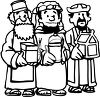 Cartoon of the Three Wise Men Bearing Gifts clipart