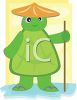 Chinese Turtle Wearing a Straw Hat clipart