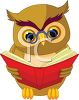 Wise Old Owl Reading a Book clipart